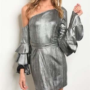 Dresses & Skirts - Silver Metallic Dress